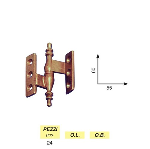 Art. 9 - Clamped baroque hinge mm. 65 x 37 right / left