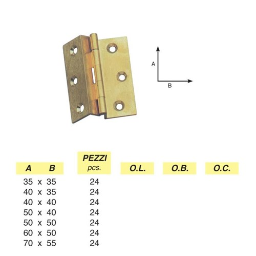 Art. 160 - Clamped milled double hinge in brass section