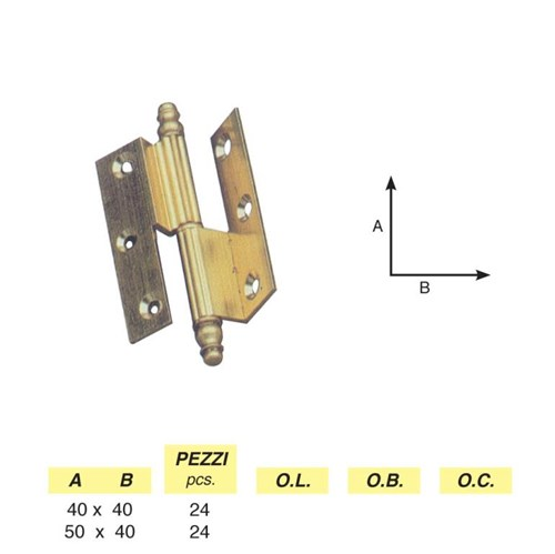 Art. 200 - Clamped striped hinge with pyramids, right / left
