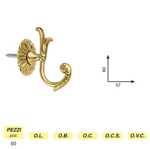 Art. 100 - Awning hook mod. tulipano with rosette